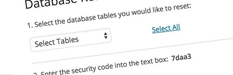 ریست دیتابیس وردپرس با افزونه WordPress Database Reset