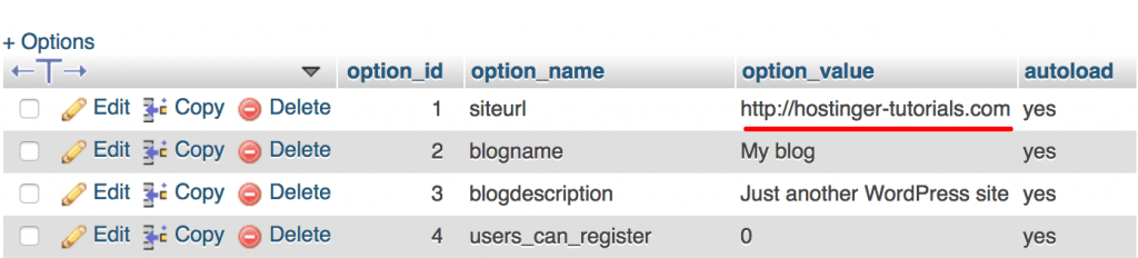 عدم ورود به پیشخوان وردپرس-phpmyadmin change-wordpress-site-url